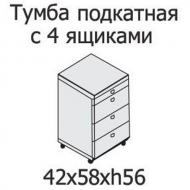 Тумба подкатная с 4 ящиками