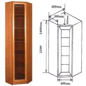 Шкаф угловой Версаль-1, прозрачное стекло